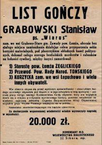 List gończy za dowódcą oddziału NSZ na pograniczu Mazowsza i Podlasia, zdradzonym i zabitym przez żołnierzy KBW w marcu 1952 r.